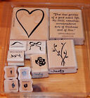 Stampin Up BOLD HEART  FLOWERS 11 pc Rubber Stamp Set wood mounted 1996