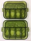 Vintage Indiana Glass Green Carnival Fruit Relish Tray Divided Dish (Lot of 2)