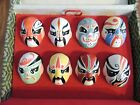 Antique Box JAPANESE OPERA MASKS Miniature Hand painted Original Display Box