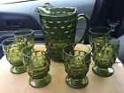 Indiana Glass Whitehall Fostoria Olive Green 6 x Footed Tumblers