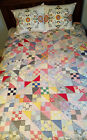 Vintage Colorful Patchwork Scrappy Quilt Hand Pieced Machine Quilted Primitive