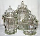 Vtg Set (3) INDIANA GLASS APOTHECARY JARS/KITCHEN CANISTERS Sm-Med-Lg Dome Lids