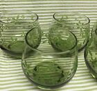 Set of 6 Libbey MINT BOUQUET Green roly With Textured Mod Flowers Glasses Retro
