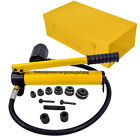 HFS 10Ton Hydraulic Knockout Punch Hole Driver Kit Complete Tool Set with 6 Dies
