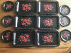 Vtg Tole Set of 6 Black Hand Painted Metal Coasters with Trays Rose Floral Tin