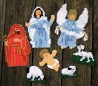 HANDMADE CHRISTMAS NATIVITY ORNAMENTS 7 Pc Completed Cross Stitch Plastic Canvas