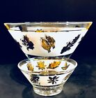 MCM Libbey Starlyte Gold Leaf Chip and Dip Bowl Set Mid Century