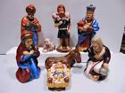 Vintage Ceramic Nativity Set Hand Painted 8 Piece Set Tall Figurines Old World