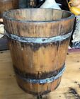 Early Double Sided Primitive Wood Mill Grain Dry Measure Farm Tool Banded Bucket
