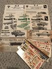 (8) original 1960's AMT & SMC model car kit instruction sheets and decal sheets