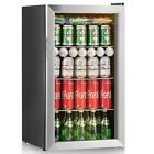 120 Can Beverage Cooler Refrigerator Beer Wine Soda Drink Mini Fridge Glass Door