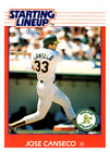 1988 Kenner Starting Lineup Cards #16 Jose Canseco - NM-MT