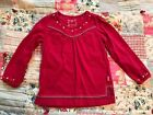 Pumpkin Patch Size 4 4T Girl Toddler Red Long Sleeve Top Shirt Embroidered