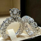 US Women White Sapphire Silver Ring Set Wedding Engagement Jewelry Gift Sz5 12