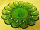 Indiana Green Iridescent Carnival hobnail  glass egg plate 11 1/2