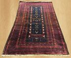 Distressed Antique Rare Hand Knotted Khoadan Balouch Wool Area Rug 5 x 3 FT