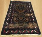 Distressed Hand Knotted Vintage Faded Afghan Adras Khan Balouch Area Rug 5x3 FT