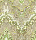 Fabric Upholstery Drapery Waverly Paisley Verse Mineral Green Gray Taupe EE303