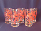 Vintage Federal Glass Red Holiday Gazelle Reindeer Glasses - Set of 5