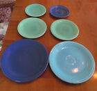 Lot - 6 Vintage Fiesta Plates Green, Cobalt & Green - Fill out your collection!