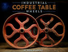 Atq CART WHEELS Vtg Ornate Cast Iron Steel Metal Industrial Factory Coffee Table