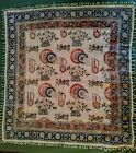 Vintage Hand Woven Linen Tapestry Persian Block Print  ~Made in Iran 36