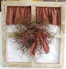 Country Decor Distressed Wood Window Frame Pip Berry Wreath Rustic Star