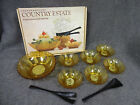 Anchor Hocking Salad Set Honey Gold Sunflower Glass 7 Piece in Box Nice