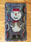 Hand Made Primitive Style Hooked Folk Art Rug Snowman Snow Guy Whimsical Unique