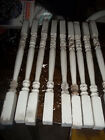OLD  ANTIQUE ORIGINAL WHITE WOOD PORCH RAILING SPINDLE BALUSTER LOT OF 9