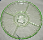 Vintage Green Vaseline Glass 5-Section Serving Vegetable Cheese Plate Platter