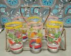6 VINTAGE FLORAL FLOWER DRINKING GLASSES TUMBLERS W/ WIRE METAL HOLDER CADDY