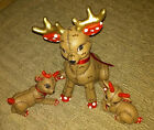 VINTAGE CERAMIC REINDEER FIGURES CHRISTMAS HAND PAINTED KIMPLE MOLD se