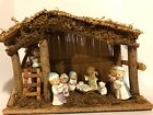 9 piece Full ceramic Nativity Set with Wooden Stable Christmas Decor