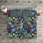 Space Quilted Bedspread  Pillow Shams Set Science Fiction Image Print