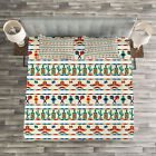 Mexican Quilted Bedspread  Pillow Shams Set Native Cultural Borders Print