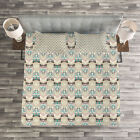 Owls Quilted Bedspread  Pillow Shams Set Native Geometric Zigzag Print