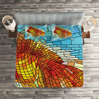 Fish Quilted Coverlet  Pillow Shams Set Stained Glass Geometric Print