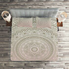 Mandala Quilted Coverlet  Pillow Shams Set Ethnic Themes Native Print