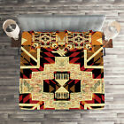 Retro Quilted Coverlet  Pillow Shams Set Native American Boho Chic Print