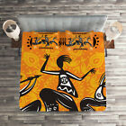 African Quilted Coverlet  Pillow Shams Set Native Dancer Tribal Print
