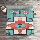 Tribal Quilted Coverlet  Pillow Shams Set Vintage Native Print