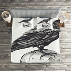 Scary Quilted Coverlet  Pillow Shams Set Sketchy Old Skull Image Print