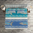 Mosaic Quilted Coverlet  Pillow Shams Set Marine Style Pattern Print