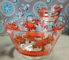 Vintage WASHINGTON GLASS CHIP AND DIP SET WITH BRACKET ORANGE RED GOLD FLOWER