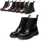 Womens Martin Boots Military Combat Ankle Shoe Casual Leather Low Heel Lace Up