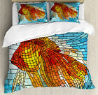 Fish Duvet Cover Set with Pillow Shams Stained Glass Geometric Print