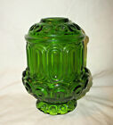 VINTAGE L E SMITH MOON STARS GREEN GLASS FAIRY LAMP