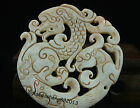 Chinese  jade Necklace Amulet old dragon and phoenix Pendant
