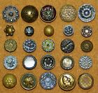 Antique Victorian Tinted Metal PICTURE Buttons CUT STEEL SHELL PARIS BACKS